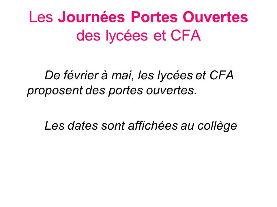 Les Journées Portes Ouvertes des lycées et CFA
