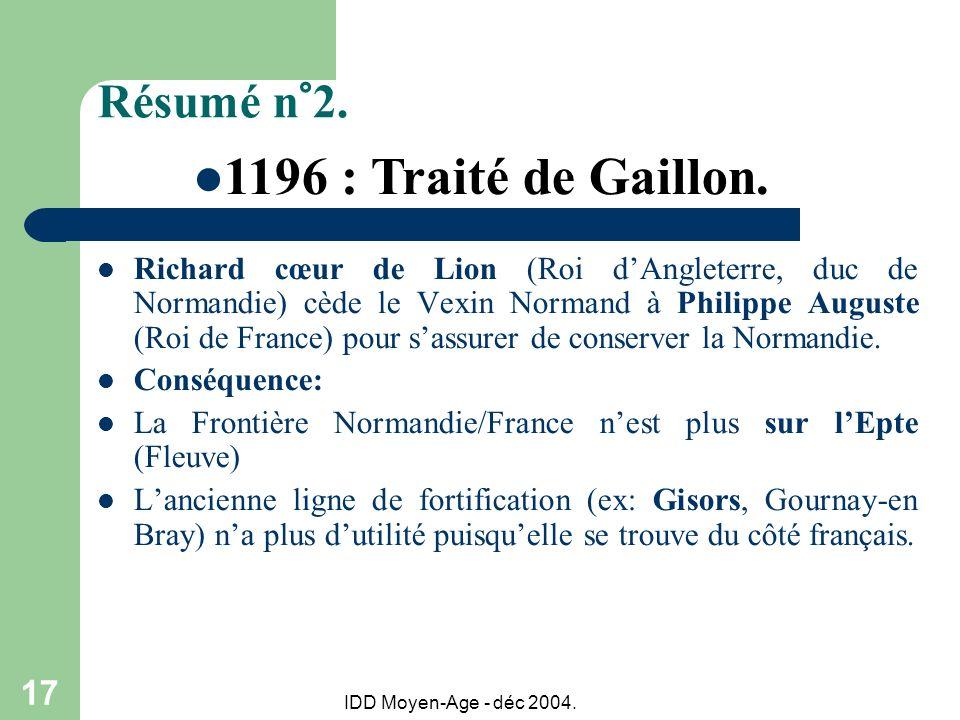 1196 : Traité de Gaillon. Résumé n°2.