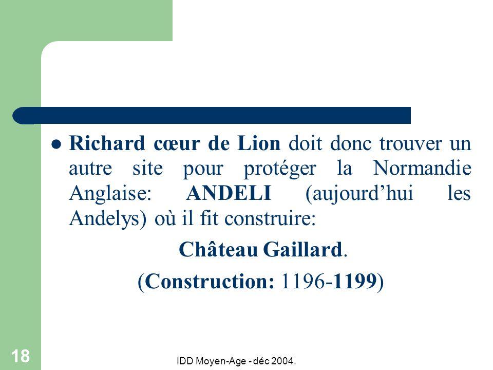Richard cœur de Lion doit donc trouver un autre site pour protéger la Normandie Anglaise: ANDELI (aujourd'hui les Andelys) où il fit construire: