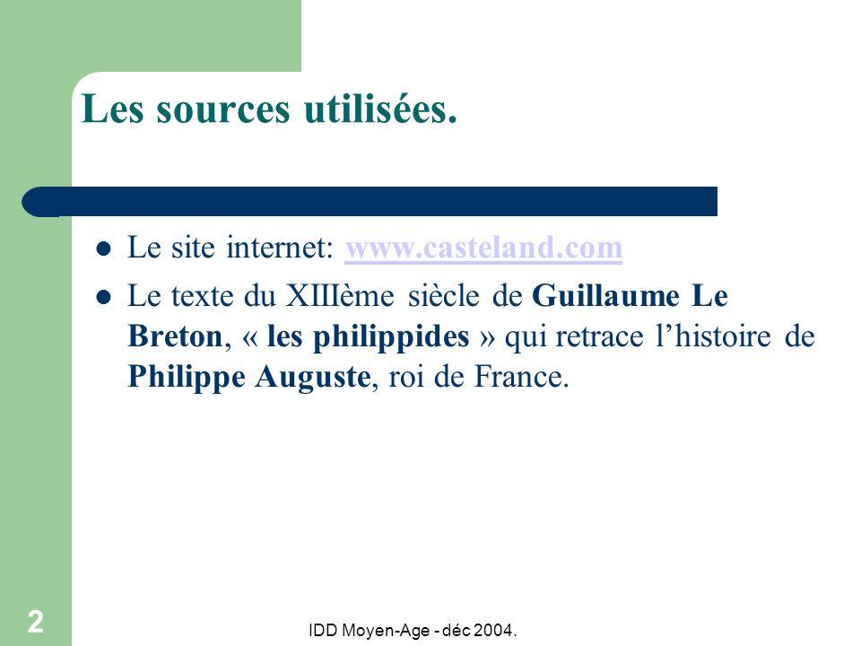 Les sources utilisées. Le site internet: www.casteland.com