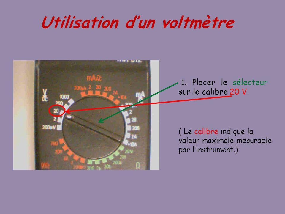 1. Placer le sélecteur sur le calibre 20 V.