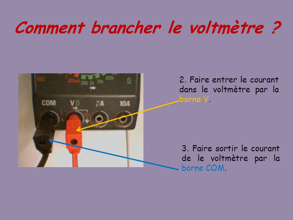 Comment brancher le voltmètre
