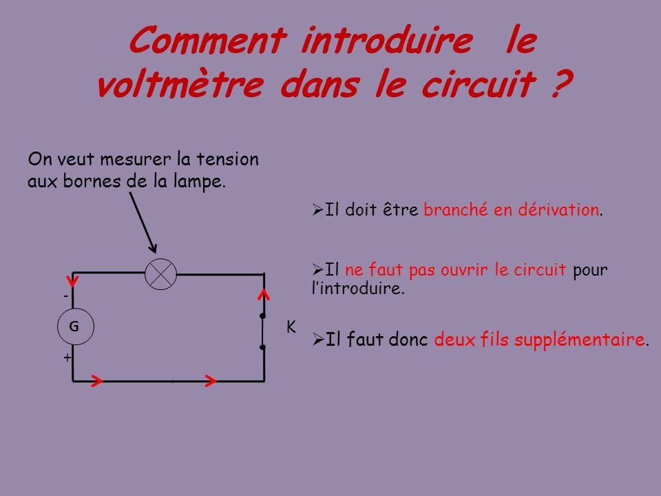 Comment introduire le voltmètre dans le circuit