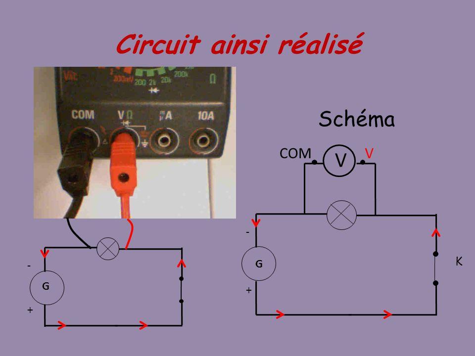 Circuit ainsi réalisé Schéma G + - K V COM G + -