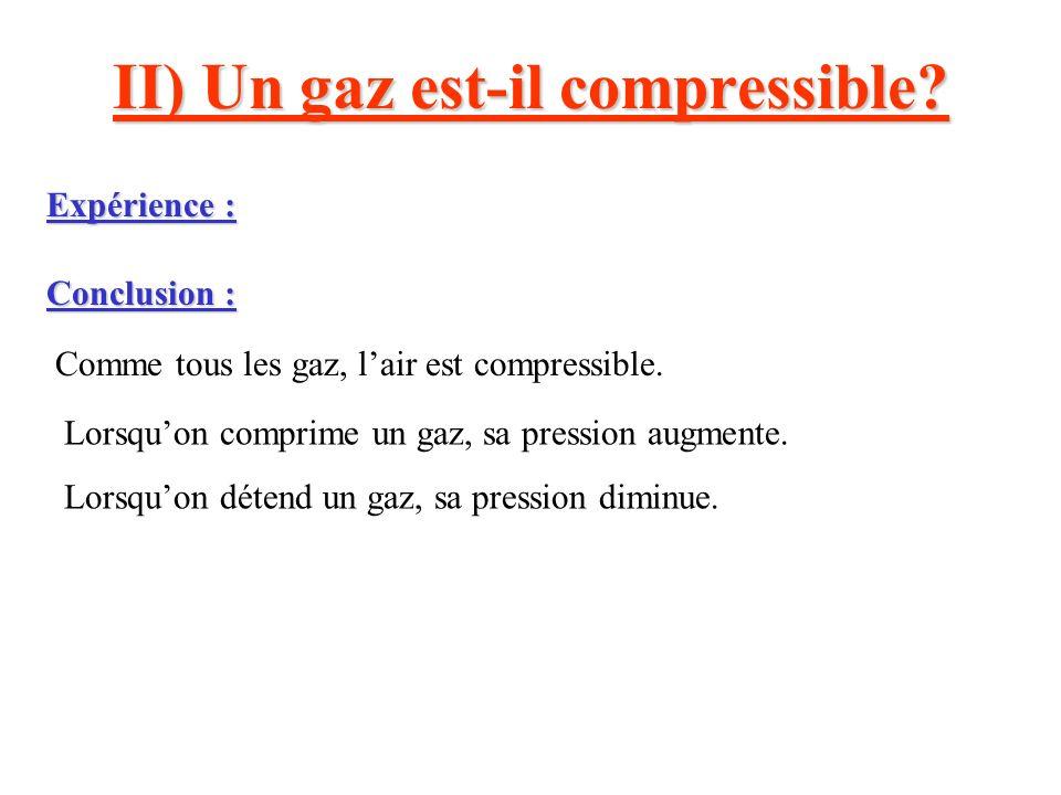 II) Un gaz est-il compressible