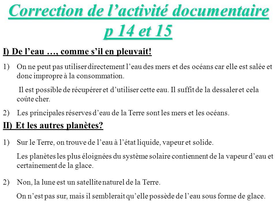 Correction de l'activité documentaire p 14 et 15