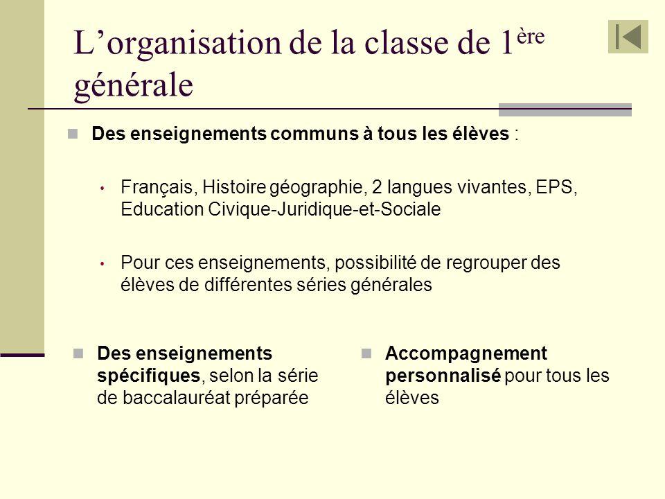 L'organisation de la classe de 1ère générale