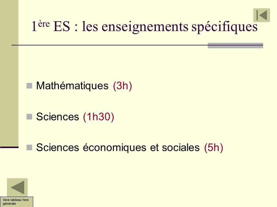 1ère ES : les enseignements spécifiques
