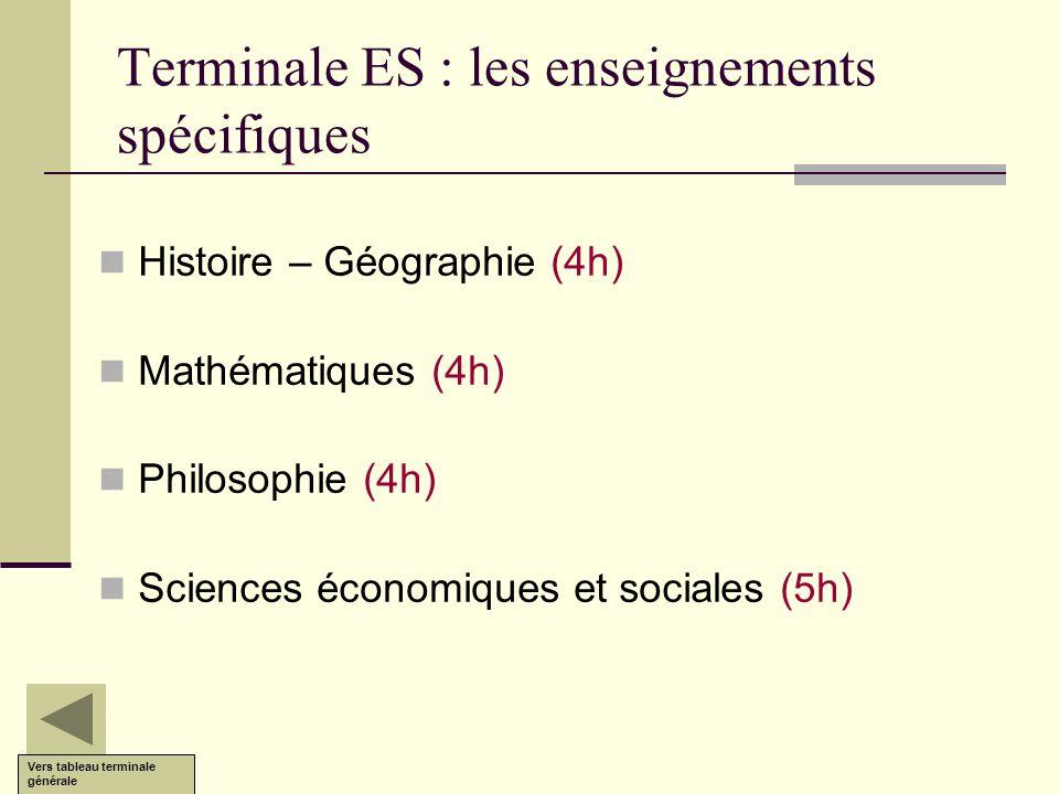 Terminale ES : les enseignements spécifiques