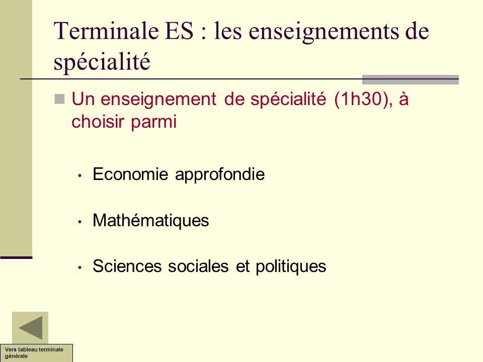 Terminale ES : les enseignements de spécialité