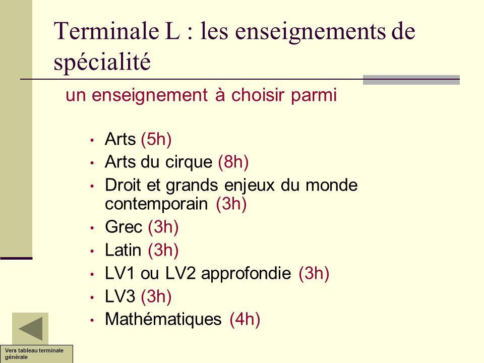 Terminale L : les enseignements de spécialité