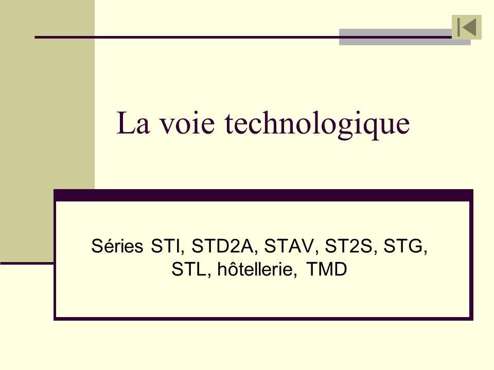 Séries STI, STD2A, STAV, ST2S, STG, STL, hôtellerie, TMD