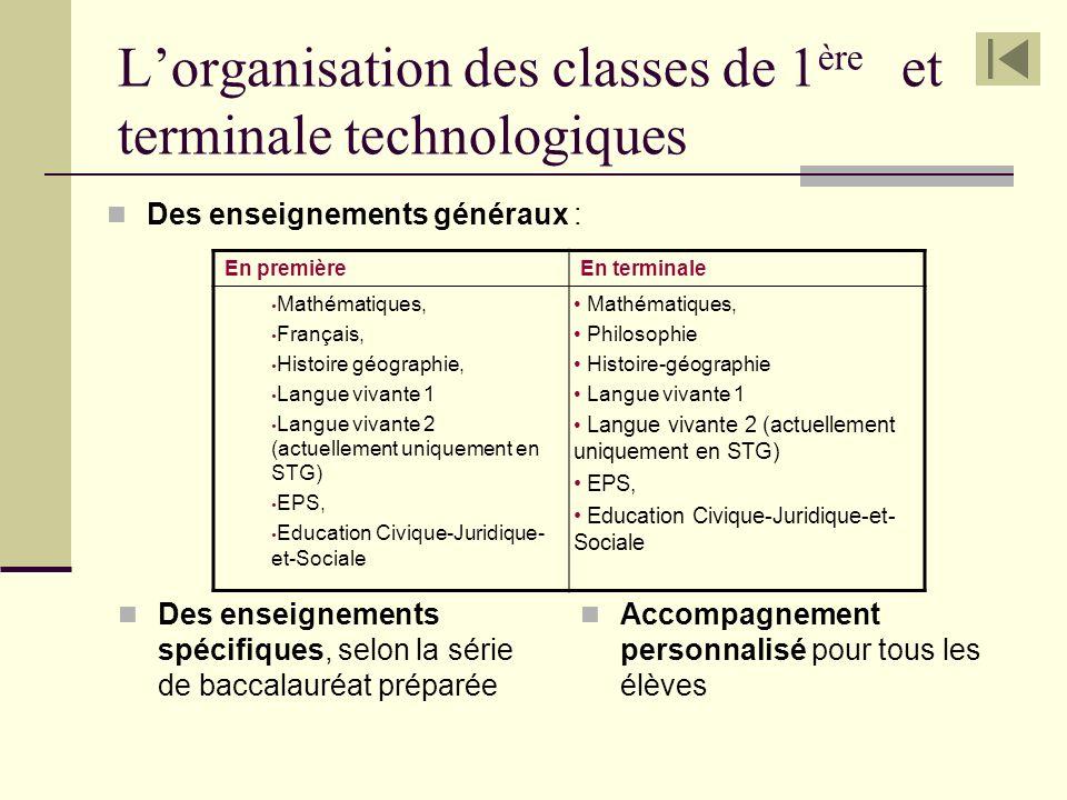 L'organisation des classes de 1ère et terminale technologiques