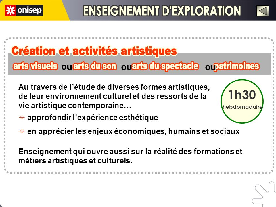 ENSEIGNEMENT D EXPLORATION ENSEIGNEMENT D EXPLORATION