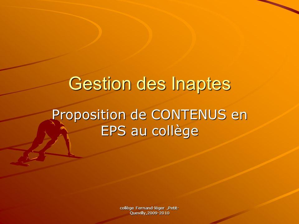 Proposition de CONTENUS en EPS au collège