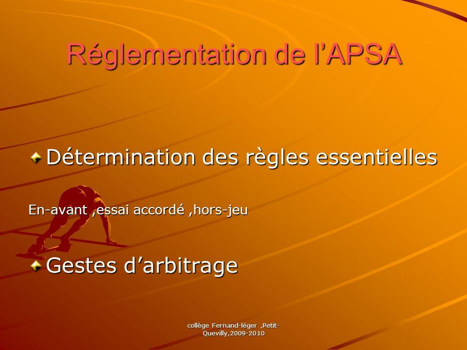 Réglementation de l'APSA