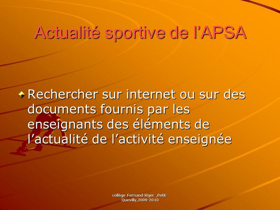 Actualité sportive de l'APSA