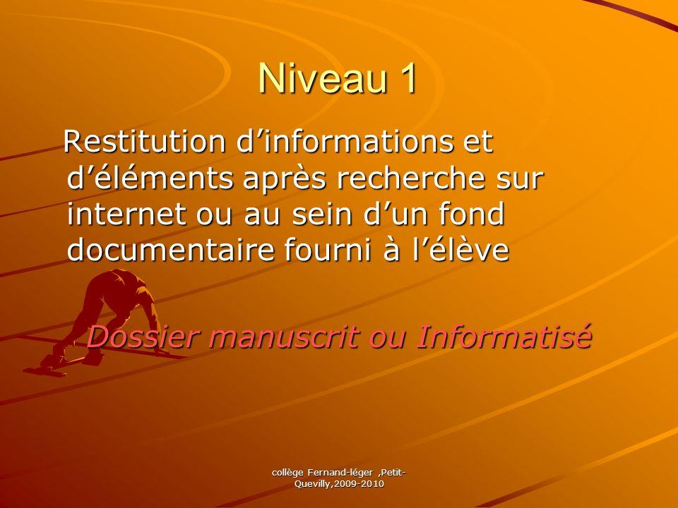 Niveau 1Restitution d'informations et d'éléments après recherche sur internet ou au sein d'un fond documentaire fourni à l'élève.