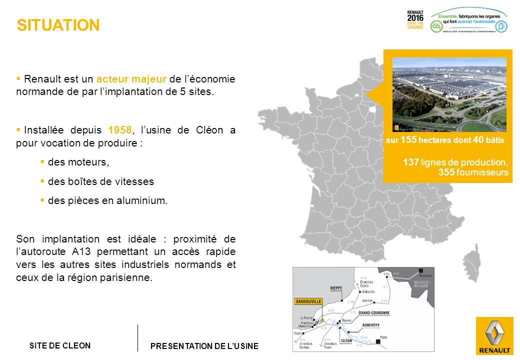 SITUATIONRenault est un acteur majeur de l'économie normande de par l'implantation de 5 sites.
