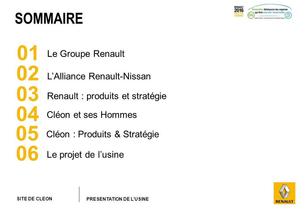 01 02 03 04 05 06 SOMMAIRE Le Groupe Renault L'Alliance Renault-Nissan