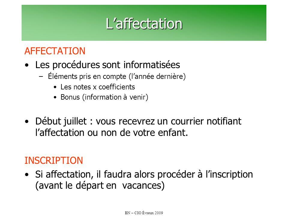 L'affectation AFFECTATION Les procédures sont informatisées