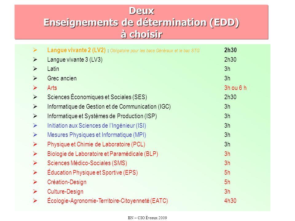 Deux Enseignements de détermination (EDD) à choisir