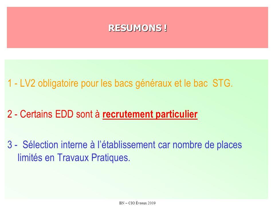 1 - LV2 obligatoire pour les bacs généraux et le bac STG.