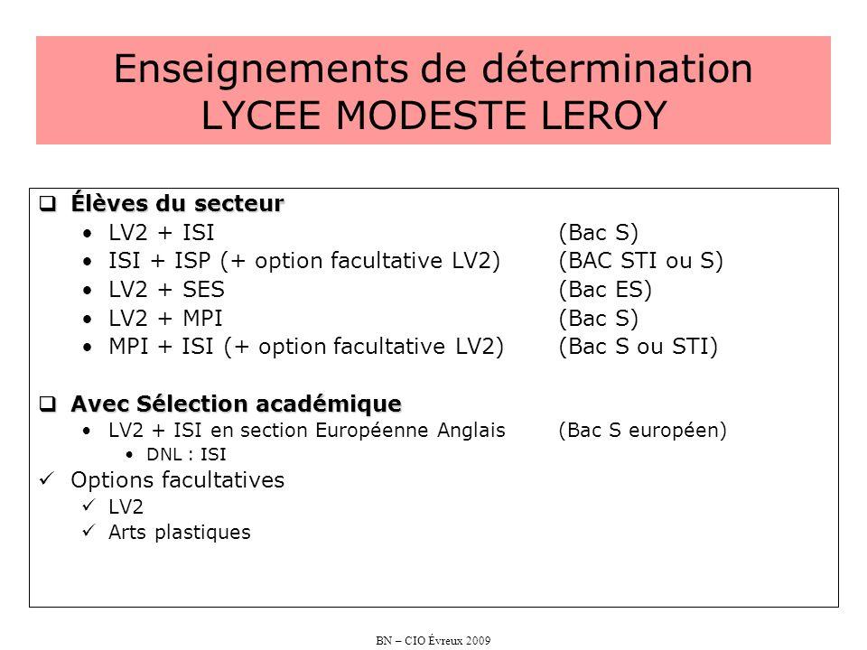 Enseignements de détermination LYCEE MODESTE LEROY