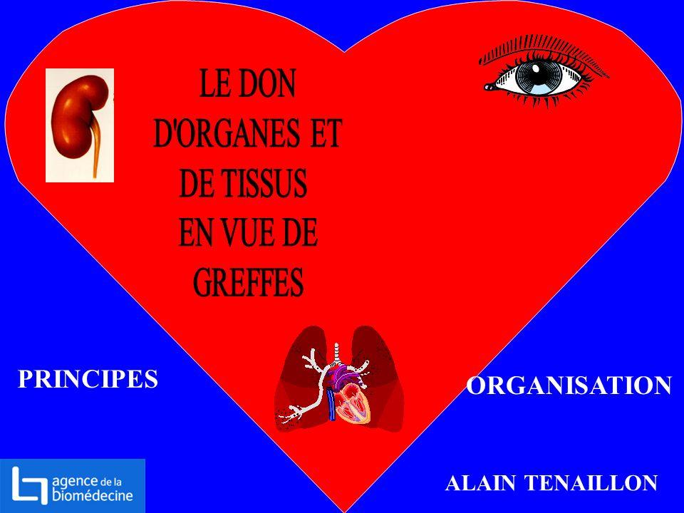 LE DON D ORGANES ET DE TISSUS EN VUE DE GREFFES PRINCIPES ORGANISATION