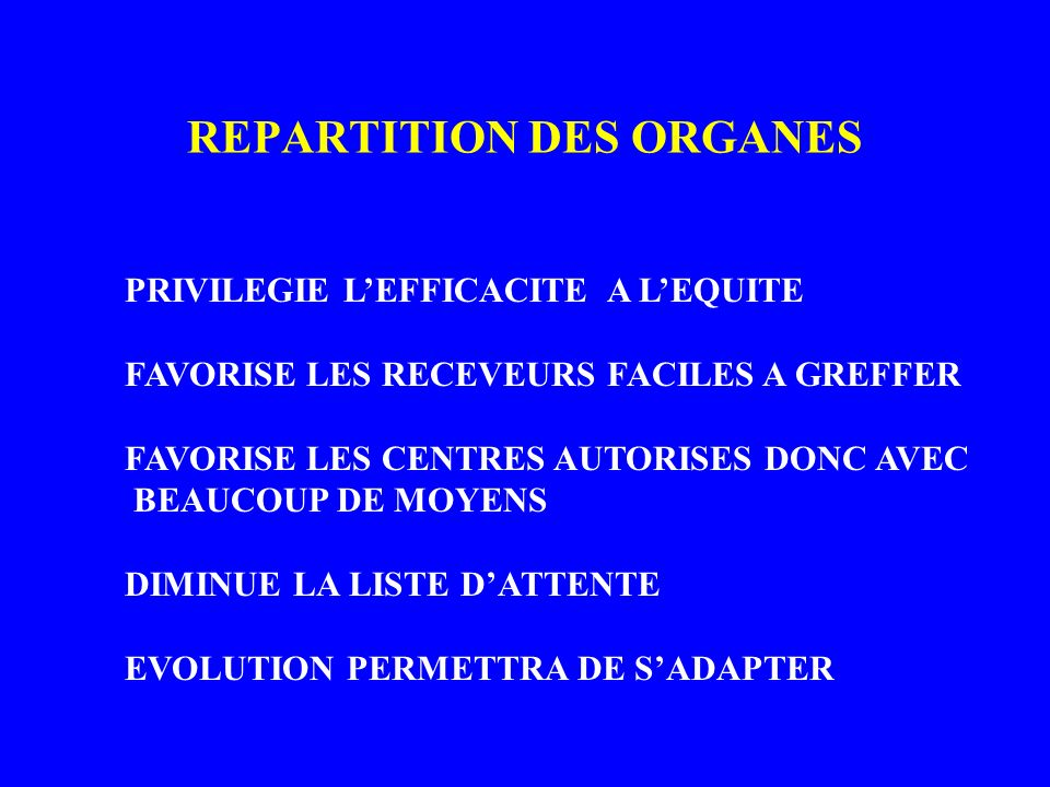 REPARTITION DES ORGANES