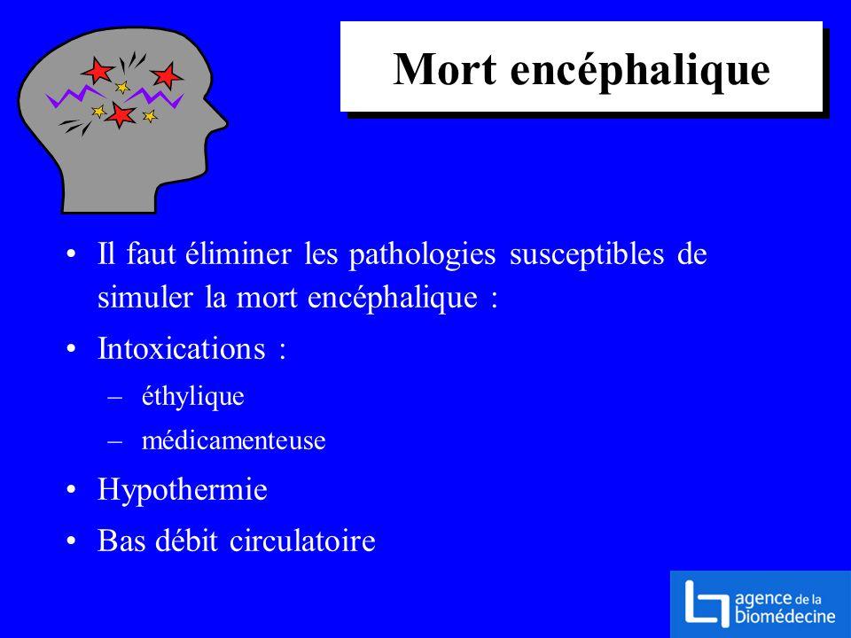 Mort encéphalique Il faut éliminer les pathologies susceptibles de simuler la mort encéphalique : Intoxications :
