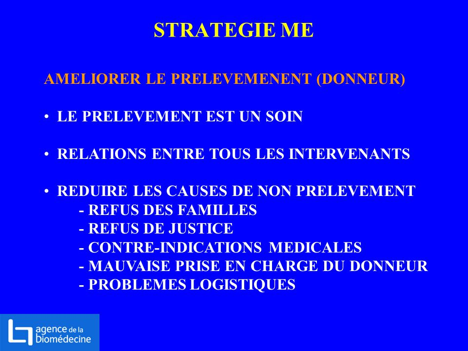 STRATEGIE ME AMELIORER LE PRELEVEMENENT (DONNEUR)