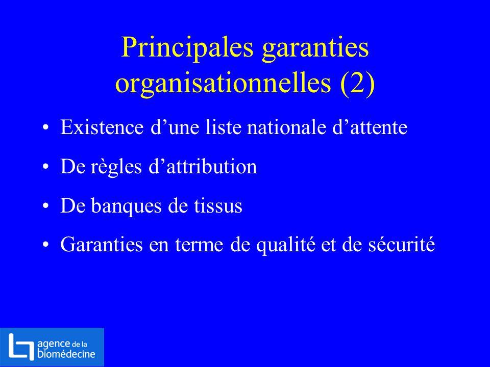 Principales garanties organisationnelles (2)