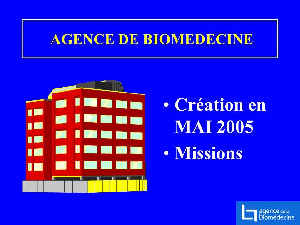 Création en MAI 2005 Missions AGENCE DE BIOMEDECINE