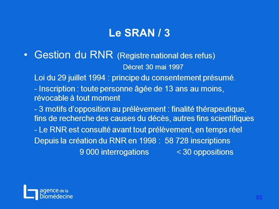 Gestion du RNR (Registre national des refus)