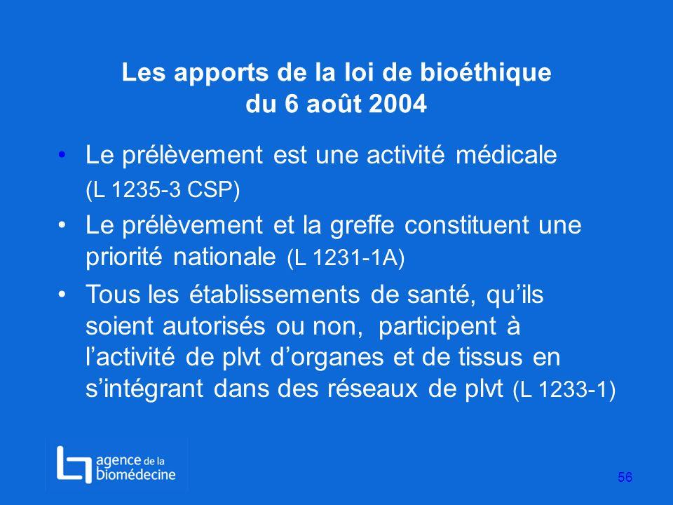 Les apports de la loi de bioéthique du 6 août 2004