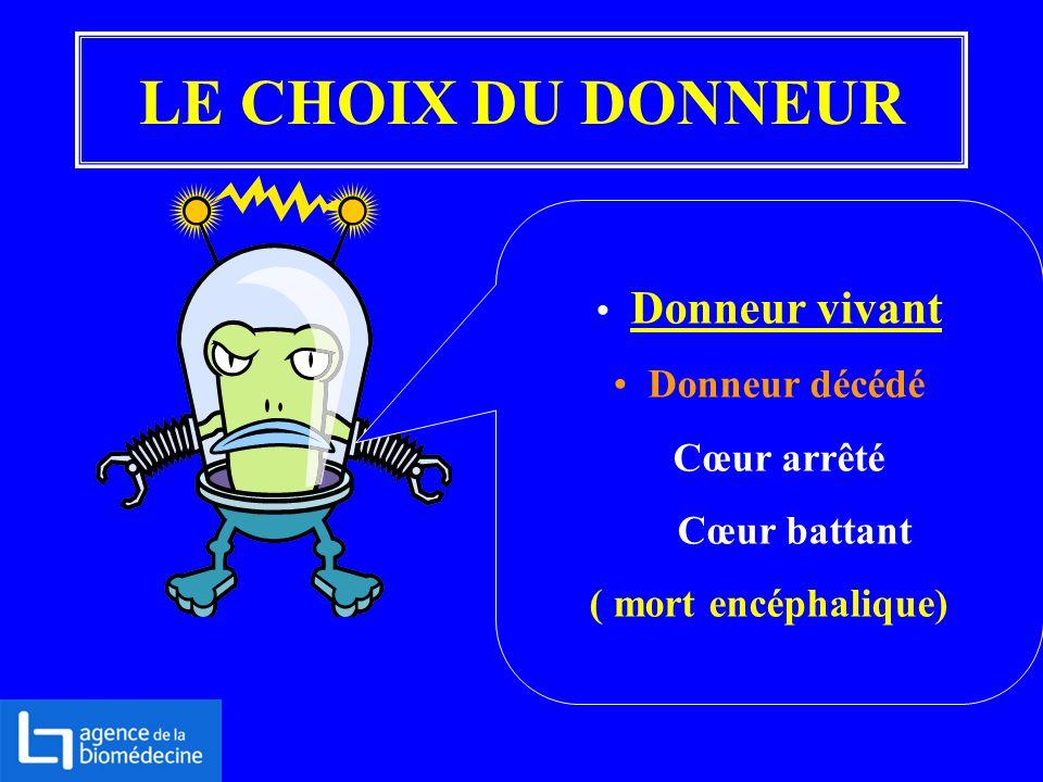 LE CHOIX DU DONNEUR Donneur vivant Donneur décédé Cœur arrêté