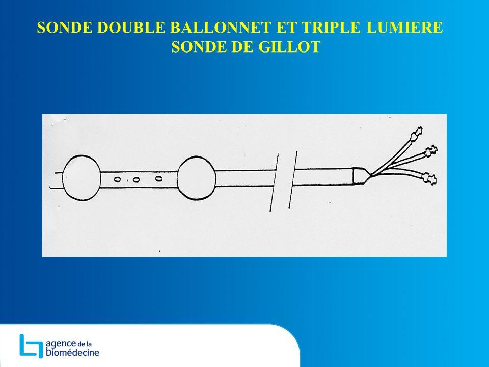 SONDE DOUBLE BALLONNET ET TRIPLE LUMIERE