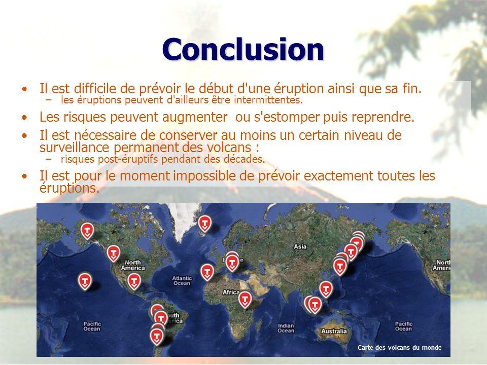 ConclusionIl est difficile de prévoir le début d une éruption ainsi que sa fin. les éruptions peuvent d ailleurs être intermittentes.