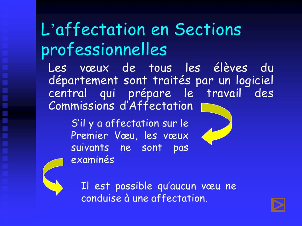 L'affectation en Sections professionnelles