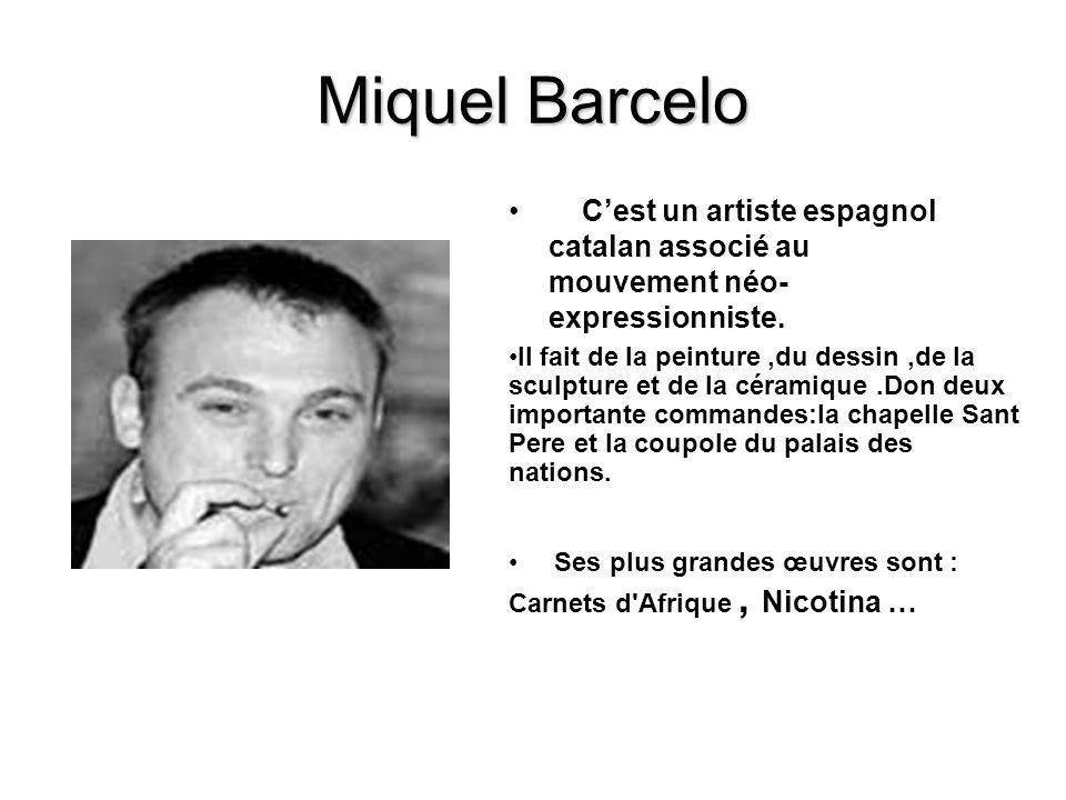Miquel Barcelo C'est un artiste espagnol catalan associé au mouvement néo-expressionniste.