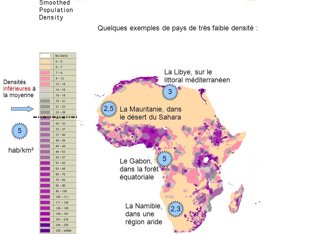 Quelques exemples de pays de très faible densité :