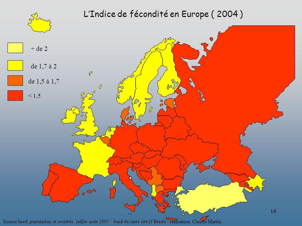 L'Indice de fécondité en Europe ( 2004 )
