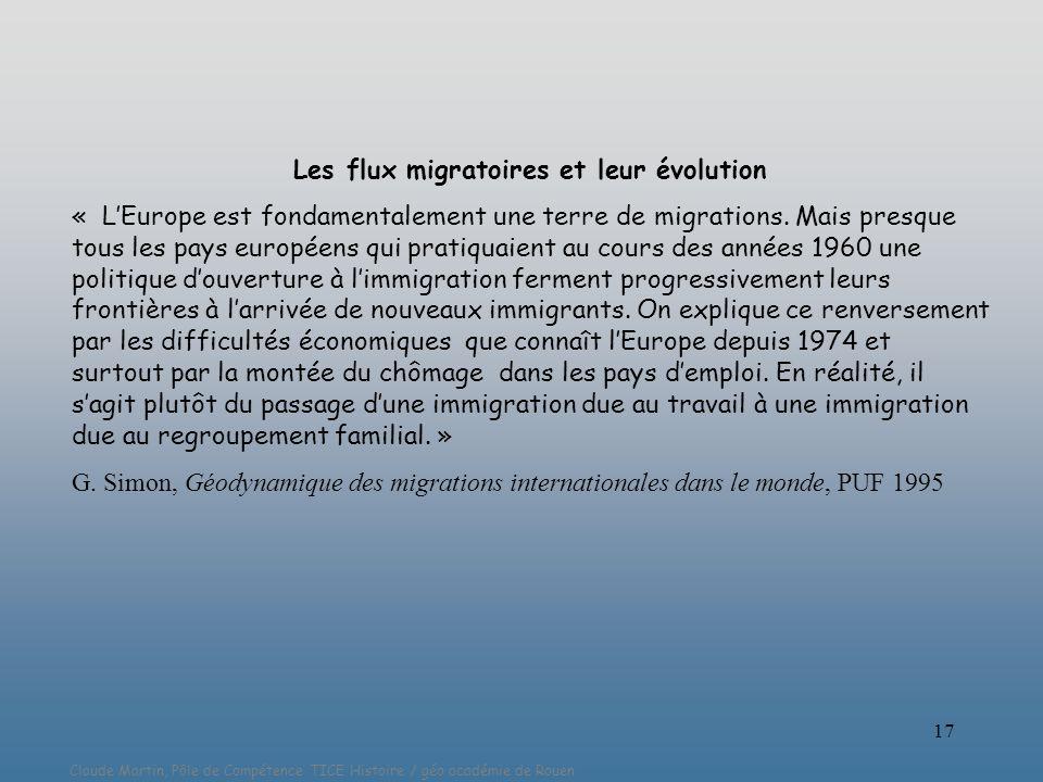 Les flux migratoires et leur évolution