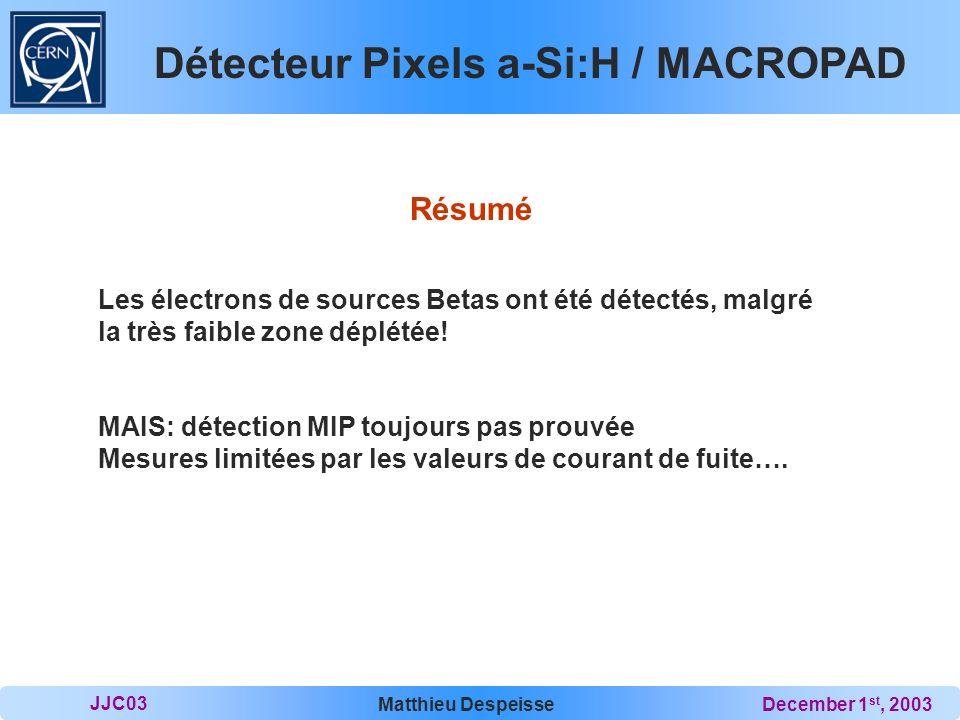 Détecteur Pixels a-Si:H / MACROPAD