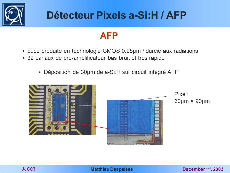 Détecteur Pixels a-Si:H / AFP