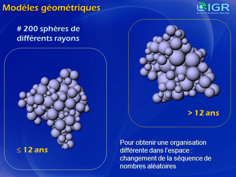 Modèles géométriques # 200 sphères de différents rayons > 12 ans