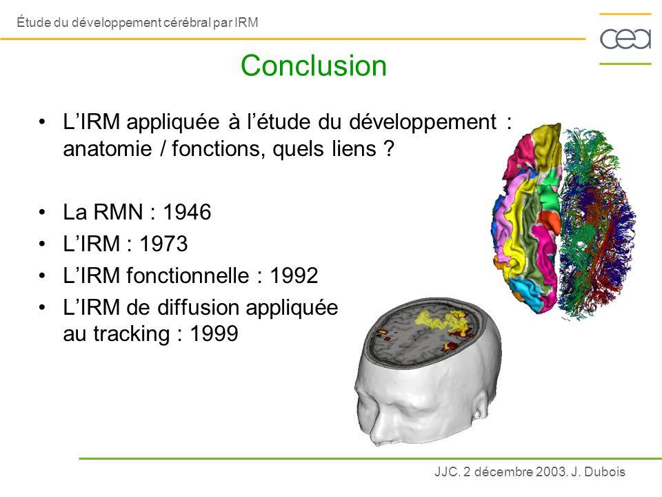 Conclusion L'IRM appliquée à l'étude du développement : anatomie / fonctions, quels liens La RMN : 1946.