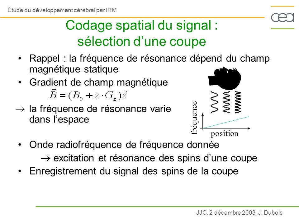 Codage spatial du signal : sélection d'une coupe