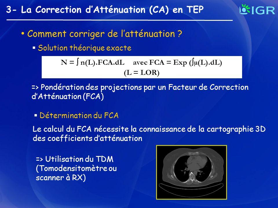 N =  n(L).FCA.dL avec FCA = Exp (µ(L).dL)